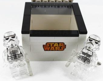 Handmade Novelty Star Wars Clear Stormtrooper Cufflinks with Lego Bricks Box