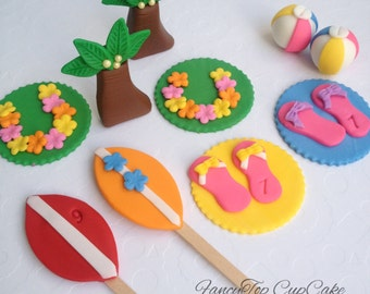 Luau Party/beach theme toppers handmade made by FancyTop CupCake