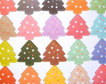40 Colourful Christmas Tree Stickers Xmas