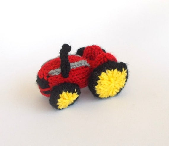 Miniature Farm Tractor Knitted Soft Toy Model by DrFrankKnits
