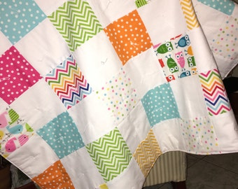 Baby Quilt, Crib Quilt, Tummy time mat, Urban Zoo, 38by 38 inches