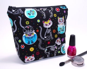 Sugar Skull Makeup Bag, Large Makeup Bag, Cosmetic Bag, Makeup Storage, Day of the Dead, Skeleton Kitty, Cute Makeup Bag, Edgy Makeup Bag