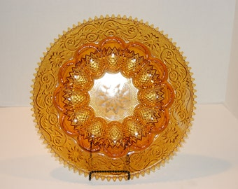 Amber Tiara Egg Plater.. Indiana Glass Company.. Sandwich Glass..