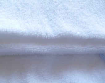 Terry Towelling, Pure WHITE Terry Cloth Fabric, Cotton Terry, Bibs, Baby hooded towels, Nursery Gifts, Guest Towels, QUARTER METRE