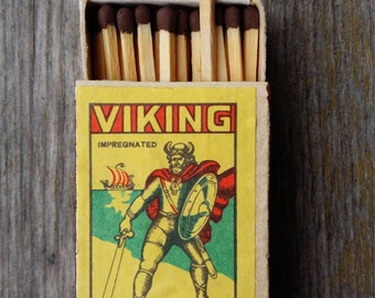 matchbox viking small miniature box safety matches box paper labels old USSR soviet era Latvia collectible souvenir original matchbox