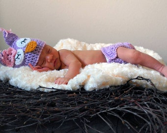 Owl hat and diaper cover - photo prop