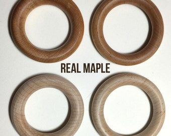 "1 Hard Maple Teething Ring - 3"" or 2.75"" - Conditioned with T-Balm (Organic Olive or Coconut Oil and Beeswax)"