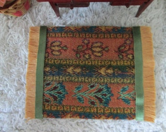 """Tapestry dollhouse rug set of 2, peach, rust, green, 3.5x4.5"""" and 2.25x 4"""""""
