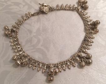 Sterling Silver 925 Belly Dancer Jingle Bells Charm Bracelet Jewelry 8 Inch