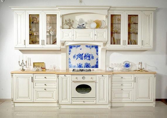 Hand beschilderde tegels blauw en wit keramiek home door lanaarkhi