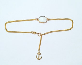 Dainty Light Blue Chalcedony Anklet Gold