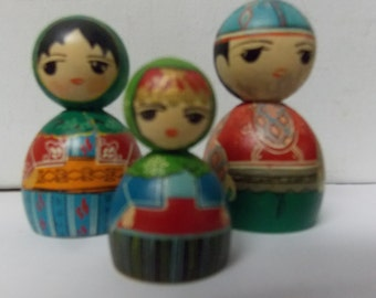 Vintage Wooden 3 Pc Doll Set Man, Woman and Child