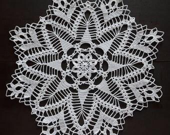 White handmade crochet doily