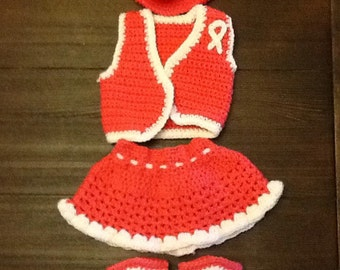 Handmade crochet cowgirl outfit/costume/photoprop. Fits 0-3 months