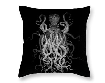Octopus Throw Pillow Black and Gray