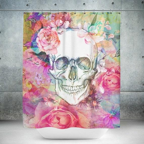 Skull Shower Curtain Pink Abstract Floral Rose Calavera Sugar Skulls