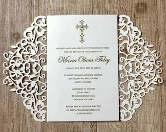 Laser cut lace baptism invitations