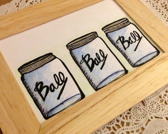 Mason Jar Illustration- Three of a Kind