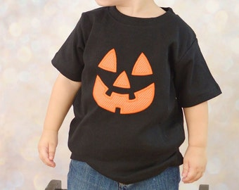 Jack o Lantern Shirt, Halloween Pumpkin Shirt, Boys Girls Halloween Shirt,Applique Embroidered Shirt Bodysuit