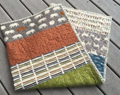 Fishing/Outdoor baby quilt, feather river, deer, bears, fish, blue-grey-gray-orange-green