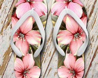 Hibiscus Flip Flops/Hawaiian Flip Flops/Pink Hibiscus Illustration Summer Flip Flops/Hawaiian Floral Flip Flops