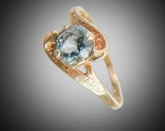 Aquamarine in 14k yellow gold ring size 4