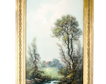 Chandler pastel painting in unusual architectural frame
