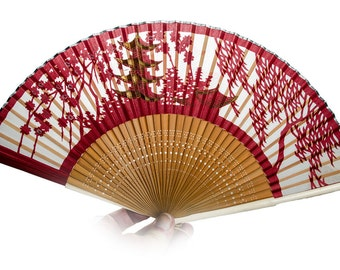 Japanese pagoda decorated see thru folding fan