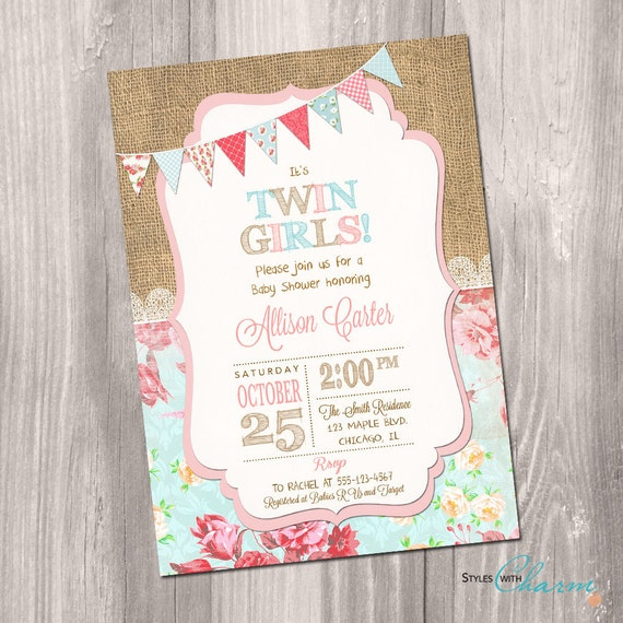 Target Baby Shower Invites: Twins Baby Shower Invitation Twin Girls Baby Shower