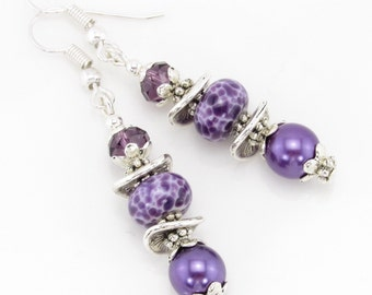Perfectly Purple Lampwork Earrings, Artisan Lampwork Jewelry, Purple Beaded Earrings, SRA Lampwork Glass