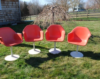 Eames Saarinen Style Mid Century Modern MCM Pedestal Tulip Chairs, Treasury Item, Coral Pink, Fiberglass, Knoll Saarinen Style