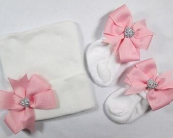 Newborn Hospital Hat, Newborn Girl Beanie Hat, Newborn Baby Hat, Newborn Hat, Newborn Socks ,Baby Girl Hospital Hat, Baby Keepsake