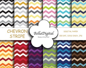 Digital Paper Chevron Stripe Zig-Zag Multi Color Paper Pack. Digital scrapbook background.