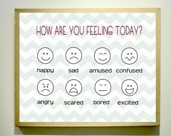HOW ARE YOU Feeling Classroom Poster / Classroom Decor / Printable Art / Feelings Chart / Emotional Intelligence / Classroom printables