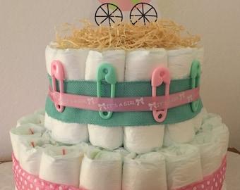 Baby Girl Stroller Diaper Cake