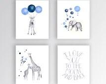 Custom Color, Baby Boy Nursery Art, Set of 4 Canvases, Nursery Wall Hanging, Safari Theme, Boys Room, Quote, Moon and Back - S420