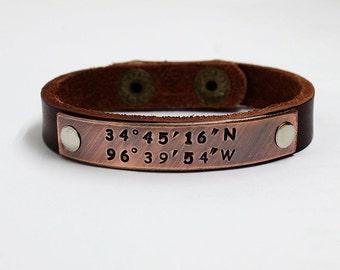 Coordinates Leather bracelet, Latitude longitude Leather bracelet, Men Leather Bracelet, Custom Leather Bracelet, Cuff Bracelet