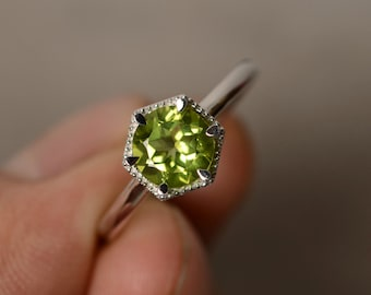 Peridot Ring Solitaire August Birthstone Ring