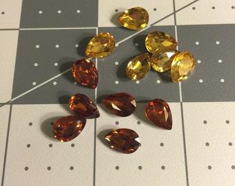 1cm by 0.6cm Yellow&Orange Teardrop  Rhinestone