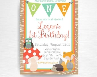 Woodland Birthday Party Printable Invitation YOU Print