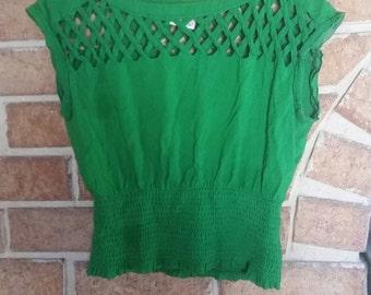 Retro Green Crop Top Lattice Summer