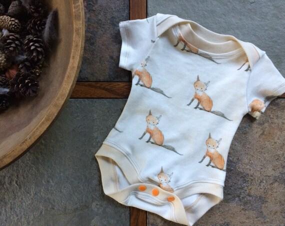 Organic Baby Bodysuit - Baby Fox