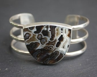 Black and White Tube Agate, Sterling Silver, Cuff Bracelet