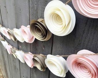 Paper Flower Garland Gold, Pink & Cream White for Wedding, Reception, Bridal Shower, Baby Shower - Ivory Antique White Paper Flower Streamer