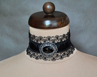 Elegant GOTHIC VAMPIRE Victorian Burlesque Glamour CHOKER black satin ribbon and delicate lace with beautiful adornment,