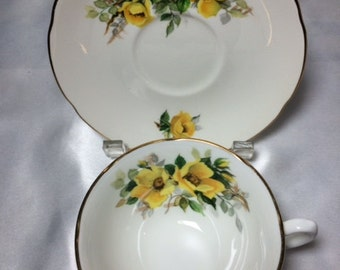 Royal Grafton Fine Bone China Tea Cups with Saucers - Service for Two