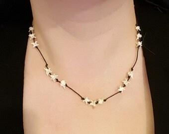 Snake Vertebrae black corded necklace bones spine tribal ethnic nature