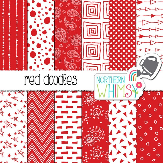 Doodle Paper in Red by Northern Whimsy Design