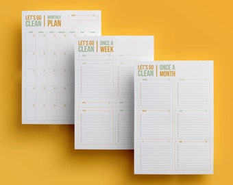 Cleaning Planner / Checklist Set - Printable - Monthly & Weekly Schedule