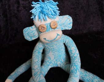 Sock Monkey, Organic Cotton Sock Monkey with Wood Button Eyes, Blue and Ecru Flower Pattern, Organic Gift for Children and Adults